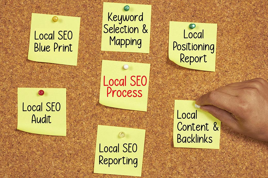 Cork Board with yellow posted showing Local SEO process