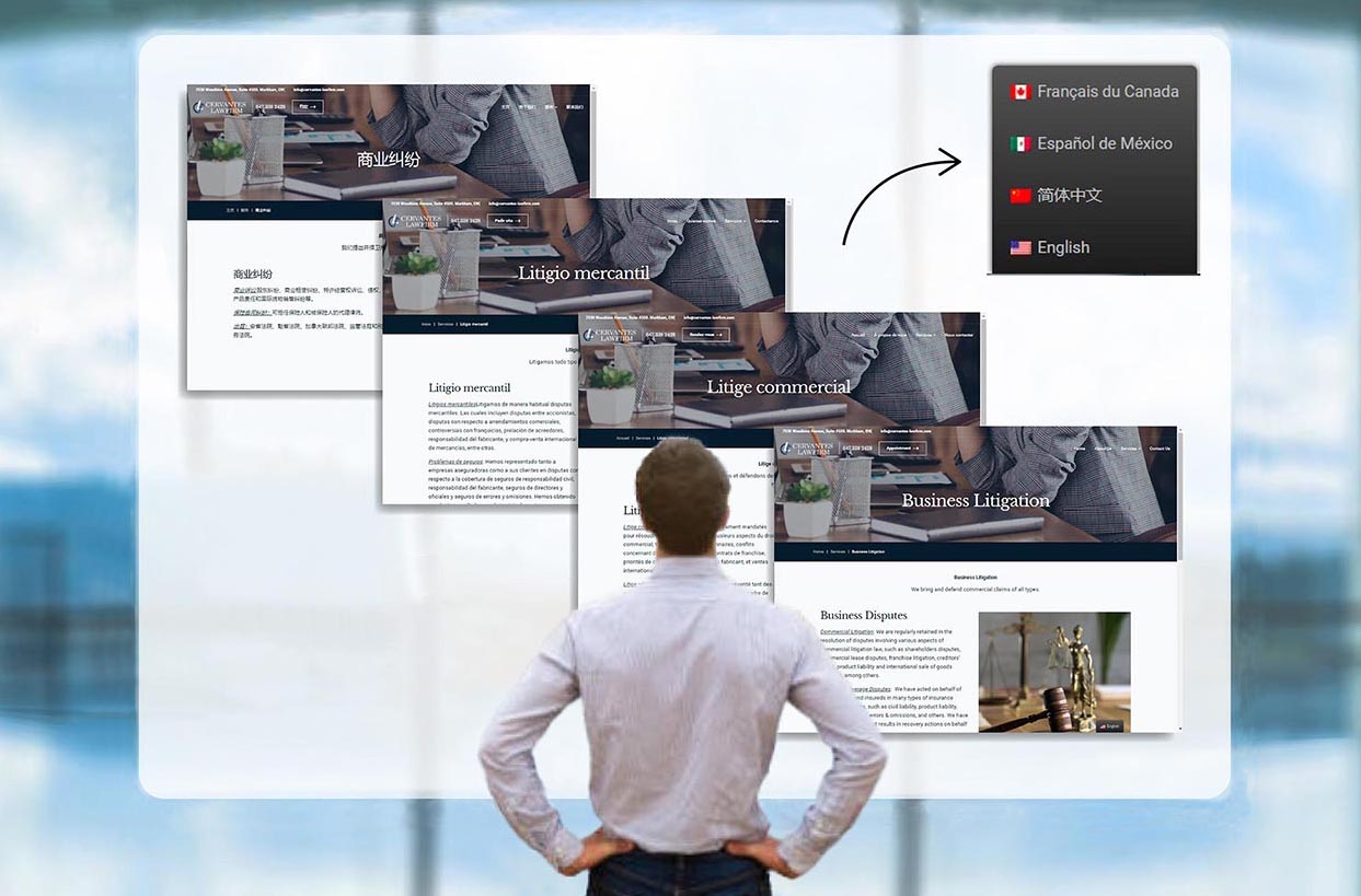 man looking at virtual screens showing website pages